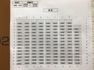 各教室の前に席番号の一覧があるので確認